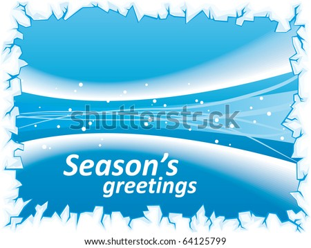 Abstract winter stream blue background with waves and ice border - stock vector
