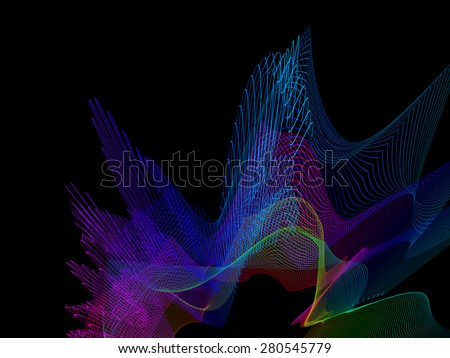 abstract wireframe distortions, vector composition with motion effect - stock vector