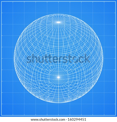 Abstract wireframe of sphere, original globe element - Vector illustration - stock vector