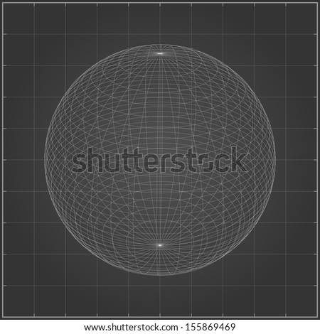 Abstract wireframe of sphere - Vector illustration - stock vector