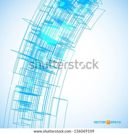 Abstract wireframe with space for your business message - stock vector