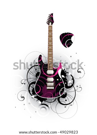 Abstract with modern electric guitar and mediator on a white background