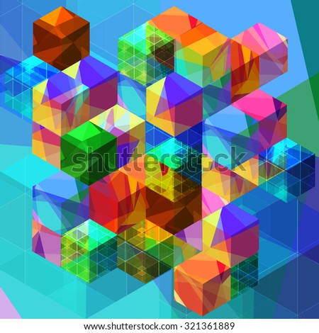 Abstract with transparent colorful cubes and grids - stock vector