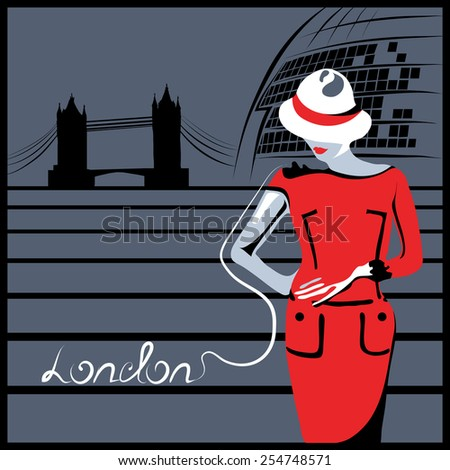 Abstract woman in red in London near Tower Bridge and City hall (poster or card) - stock vector