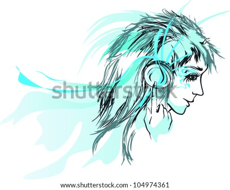 Abstract woman listening music