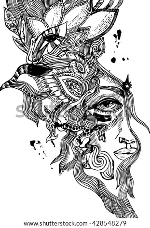 abstract woman portrait - stock vector