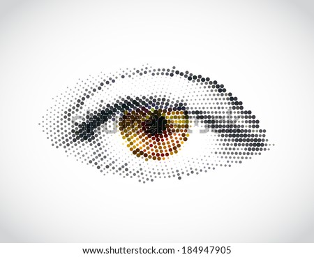Abstract woman yellow eye made from dots. Vector - stock vector