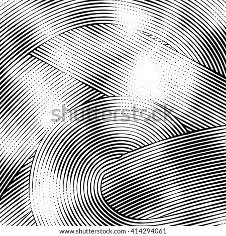 Abstract woodcut styled background with waves of lines - stock vector