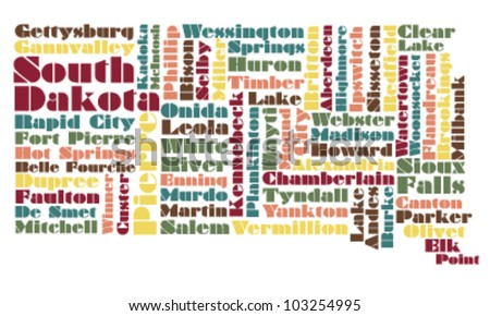 abstract word cloud map of South Dakota state