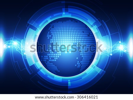 Abstract world energy technology, vector background - stock vector