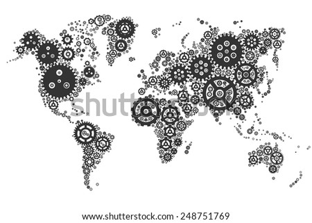 Abstract World gear map (vector design) - stock vector
