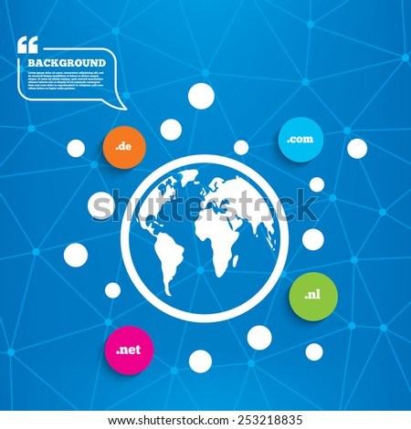Abstract world globe. Top-level internet domain icons. De, Com, Net and Nl symbols. Unique national DNS names. Molecule structure background. Vector - stock vector