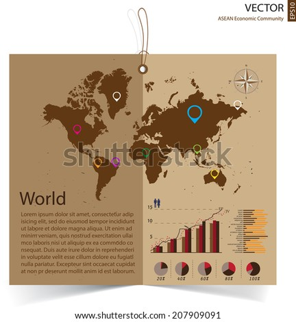 abstract world info graphics element and map on brown recycled paper brochure, vector illustration - stock vector