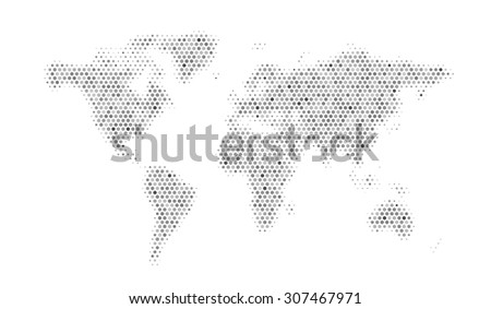 Abstract world map consisting of hexagons, vector illustration - stock vector