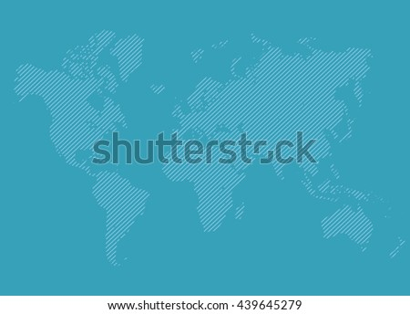 Abstract world map from lines template. Detailed EPS10 vector blue background - stock vector