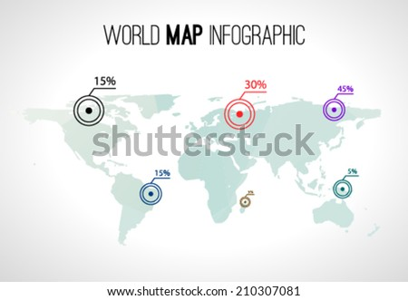 Abstract world map infographic with points and destinations  - stock vector