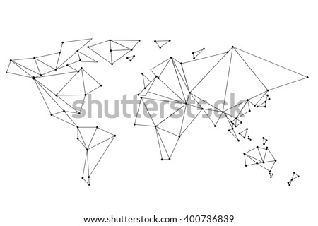 Abstract  world map lines connection. Vector illustration - stock vector