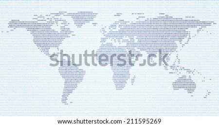 Abstract world map made of binary code, EPS 8 - stock vector