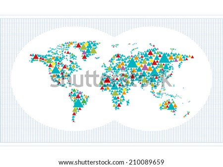 Abstract World Map made of colorful stylized Triangles vector - stock vector