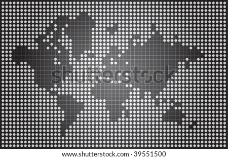 Abstract world map made of dots and lines - stock vector