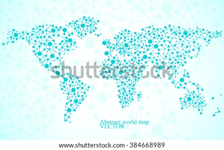 Abstract world map. Molecule structure. Colorful background. Vector illustration. Eps 10 - stock vector