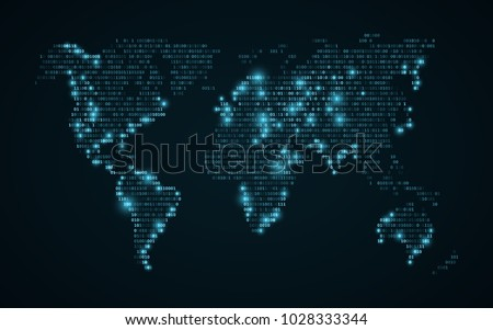 Abstract world map binary code glowing stock vector 1028333344 abstract world map of binary code glowing map of the earth dark blue background gumiabroncs Image collections