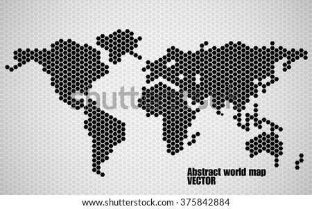 abstract world map of hexagons vector illustration eps 10