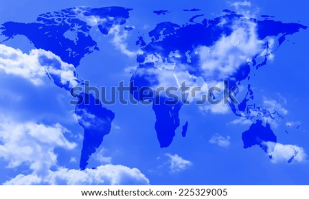 Abstract world map of the sky background. Elements of this image furnished by NASA  - stock vector