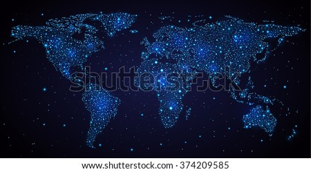 Abstract world map on night sky. EPS 10 contains transparency. - stock vector