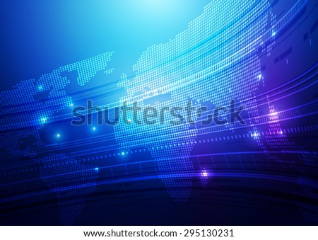 Abstract World Map & Technology Blue Background, Vector Illustration