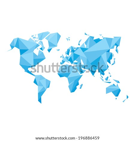 Abstract World Map - Vector illustration - Geometric Structure in blue color for presentation, booklet, website and other design projects. - stock vector