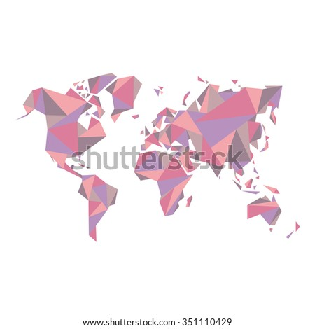 Abstract world map - vector illustration - Geometric Structure in pastel color for presentation, booklet, website and other design projects. - stock vector