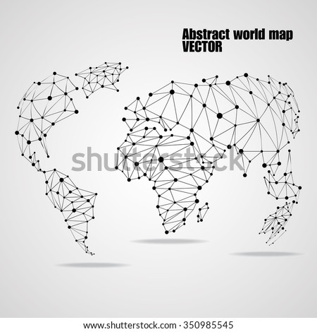 Abstract world map with circles and lines, network connections. Vector illustration. Eps 10 - stock vector