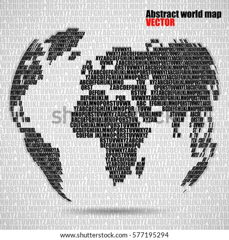 Abstract world map letters english alphabet stock vector 577195294 abstract world map with letters of english alphabet vector globe background gumiabroncs Images