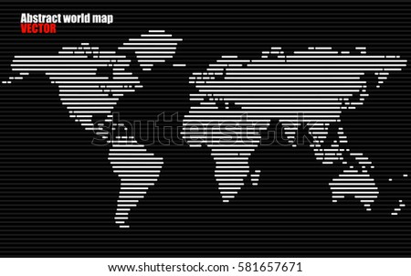 Abstract World map with lines. World stripes map. Vector