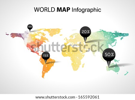 Abstract world map with tags, points and destinations / Child drawing style - stock vector