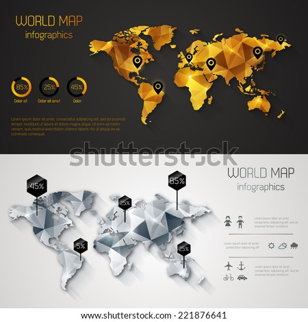 Abstract world map with tags, points and destinations. Vector illustration. Two banners in gold and silver design. - stock vector