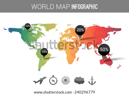 Abstract world map with tags, points, icons and destinations  - stock vector