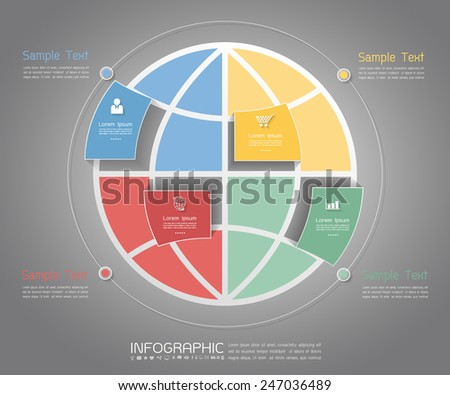 Abstract world Template. Can be used for workflow layout, banner, diagram, web design, infographic Vector Eps10 - stock vector