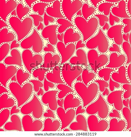 Abstract wrapper with red hearts - stock vector