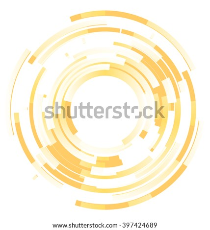 Abstract yellow background frame blended elements striped transparency cut from circles - vector - stock vector
