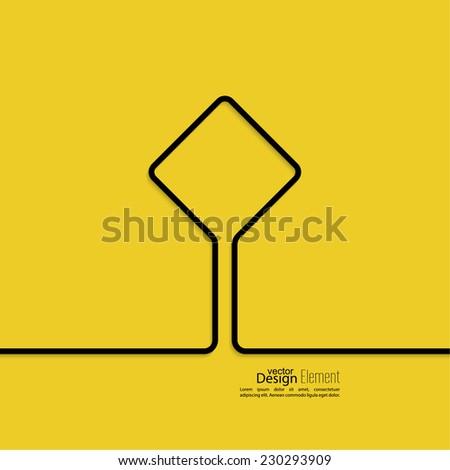 Abstract yellow background with black signs. Road sign. Warning. blank space for advertising, ads, text - stock vector
