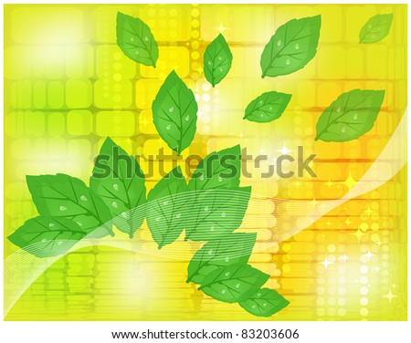 Abstract yellow background with the expanding green foliage - stock vector