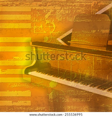 abstract yellow grunge background with grand piano - stock vector