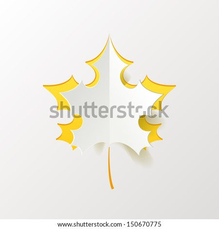 Abstract Yellow Maple Leaf Isolated on White Background - stock vector