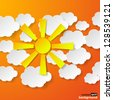 Abstract yellow paper sun and white paper clouds on orange background. Vector eps10 illustration - stock
