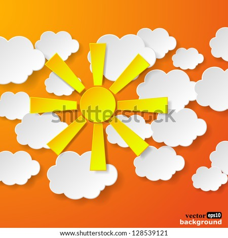 Abstract yellow paper sun and white paper clouds on orange background. Vector eps10 illustration - stock vector