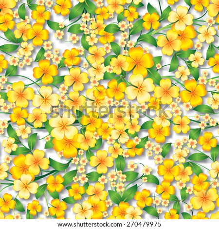 abstract yellow seamless spring floral ornament and shadows on white background - stock vector