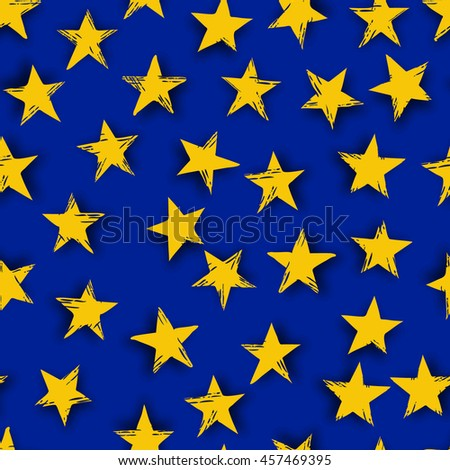 Abstract yellow stars on blue background - stock vector