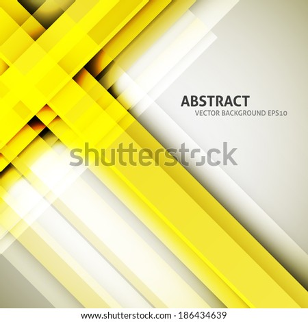 Abstract yellow straight lines background. Technology vector stripped background - stock vector